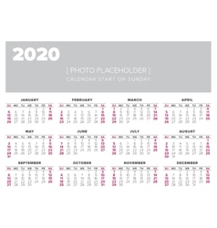 Calendar 2020 year design template vector