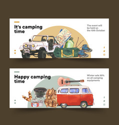 Camping banner design with van guitar hiking vector