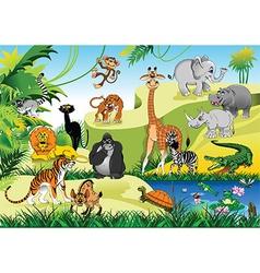 Cartoon animals in forrest vector image