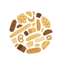 cartoon bakery elements in circle shape vector image