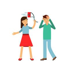 cartoon furious girl shouting and swinging her bag vector image