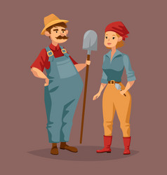 cartoon gardener man and agriculture worker woman vector image