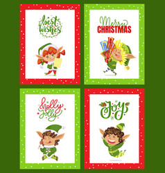 christmas greeting card with fairy elf vector image