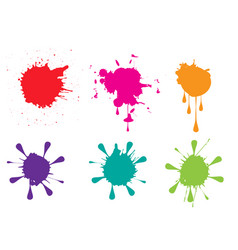 Colorful paint splatters set vector