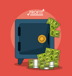 Colorful poster with safe box and money profit vector