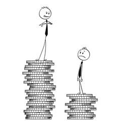 Conceptual cartoon two businessmen standing on vector