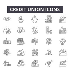 credit union line icons for web and mobile design vector image