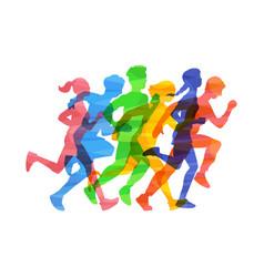Crowd people run marathon in vector