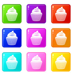 Cupcake icons 9 set vector