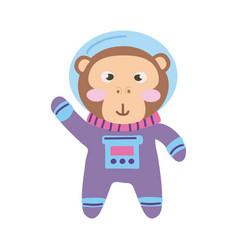 Cute monkey astronaut vector