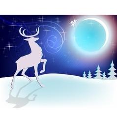 Design Christmas deer with moon vector