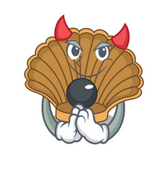 Devil shell with pearl mascot cartoon vector