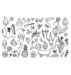 doodle elements sketch decoration design vector image
