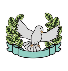 Emblem with peace dove icon vector