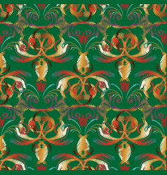 Embroidery baroque seamless pattern green vector