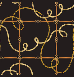 fashion seamless pattern with belts and chains vector image