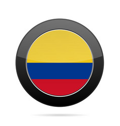 flag of colombia shiny black round button vector image