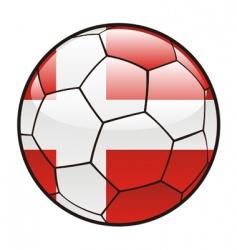 flag of Denmark on soccer ball vector image