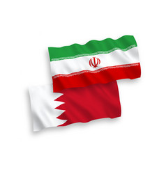 Flags iran and bahrain on a white background vector