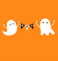 Flying ghost spirit holding bunting flag boo two vector