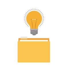 Folder with light bulb in white background vector