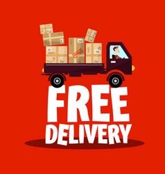 Free delivery icon with truck and parcels vector