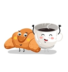 Funny croissant and coffee cup cartoon characters vector image