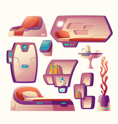 Futuristic objects for spaceship cockpit vector