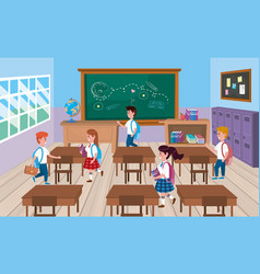 Girls and boys students in classroom with vector