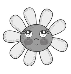 grayscale kawaii flower thinking with cheeks and vector image