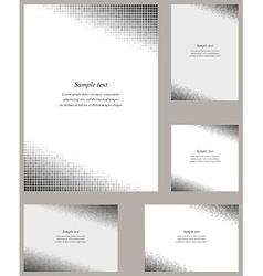 Grey mosaic page corner design template set vector