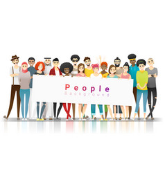 Group multi ethnic people holding empty banner vector