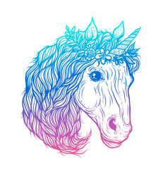 hand drawn of cute unicorn vector image