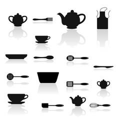 Hand drawn set kitchen utensils vector
