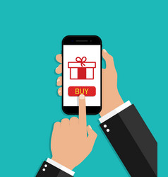 hand hold smartphone with online gift christmas vector image