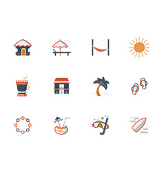 hawaii beach flat color icons set vector image