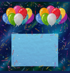 Holiday background balloons with paper vector