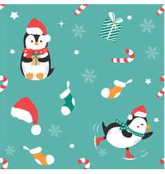 holiday pattern with funny penguins and elements vector image