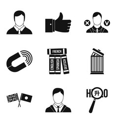International relation icons set simple style vector