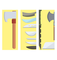 knifes cooking chef meal knives cards kitchen vector image
