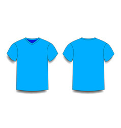 Light blue male t-shirt template v-neck front and vector