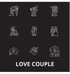 love couple editable line icons set on vector image