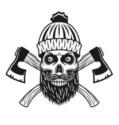 Lumberjack skull in knitted hat with beard axes vector