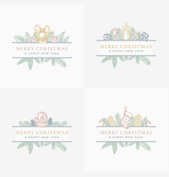 merry christmas abstract botanical labels or cards vector image