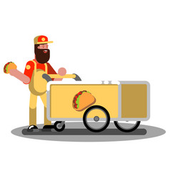 mexican food trolley vector image