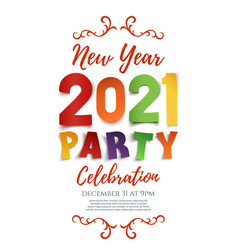 new year 2021 party poster template isolated on vector image