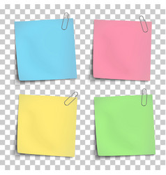 Paper mockup of color notes attached vector