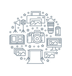 Photography equipment poster with flat line icons vector