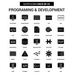 Programming and developement glyph icon set vector