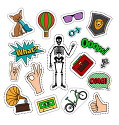 quirky colorful retro style icons vector image